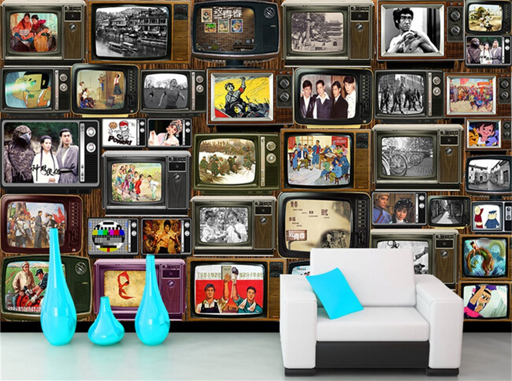 Free Shipping retro large mural bar KTV Cafe living room bedroom sofa TV background wallpaper old TV pictures mural  free shipping cartoon pattern wallpaper leisure bar ktv lounge living room sofa children room background comics wallpaper mural