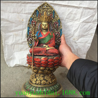 Chinese folk sculpture pure copper coloured drawing lotus Buddha statue Avalokiteshvara Tibetan king Shakya Mani Ornament