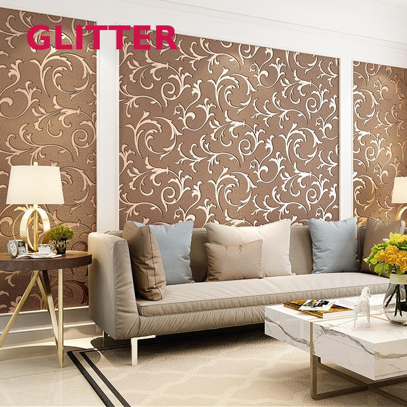 Aliexpress Com Buy High Quality Thick Flocked Modern: Luxury High Quality Thick Wallpaper Brown Non Woven Living