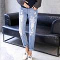 Maternidade Roupas de Outono Em Linha Reta calças de Brim Pintadas Calças jeans Rasgado Buraco Jeans Gravidez Grávida Calças Barriga Calças de Maternidade Macacão