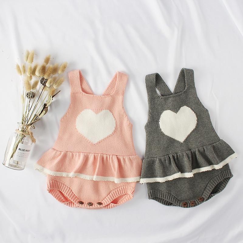 Baby Jungen Mädchen Strampler Strick Rüschen Säuglings Herz Gedruckt Overall sleeveless Overalls Baby-spielanzug Für Mädchen Kleinkind Kleidung