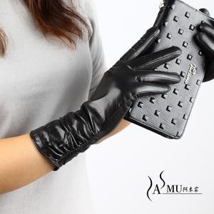 Image 5 - Guantes largos de piel para mujer a la moda, guantes cálidos de terciopelo para otoño, guantes de piel de oveja, nuevos guantes de alta calidad, Envío Gratis