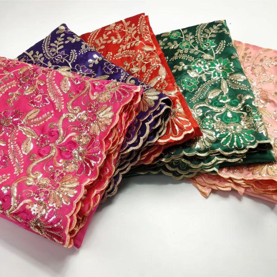 2018 afryki George koronki tkaniny z bluzka indyjskie brzoskwinia francuski koronki tkaniny netto dla nigerii suknia ślubna jedwab koronki w Koronka od Dom i ogród na  Grupa 2
