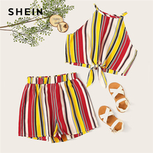 SHEIN Kiddie Knot Hem Striped Halter Top And Elastic Wast Shorts Vacation Sets 2019 Summer Sleeveless Child Boho Two Piece Sets