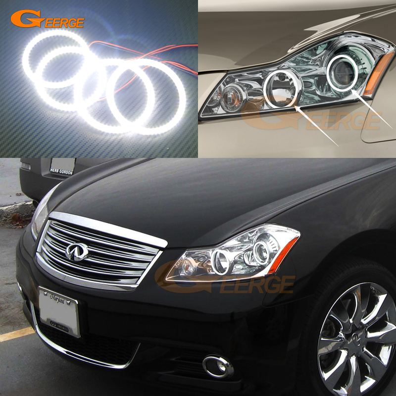 For INFINITI M35 M45 2005-2010 Xenon headlight Excellent Ultra bright illumination smd led Angel Eyes kit halo rings universal fit xenon white headlight smd 3014 led angel eyes halo rings kit for bmw honda vw ultra bright car angelic eyes rings