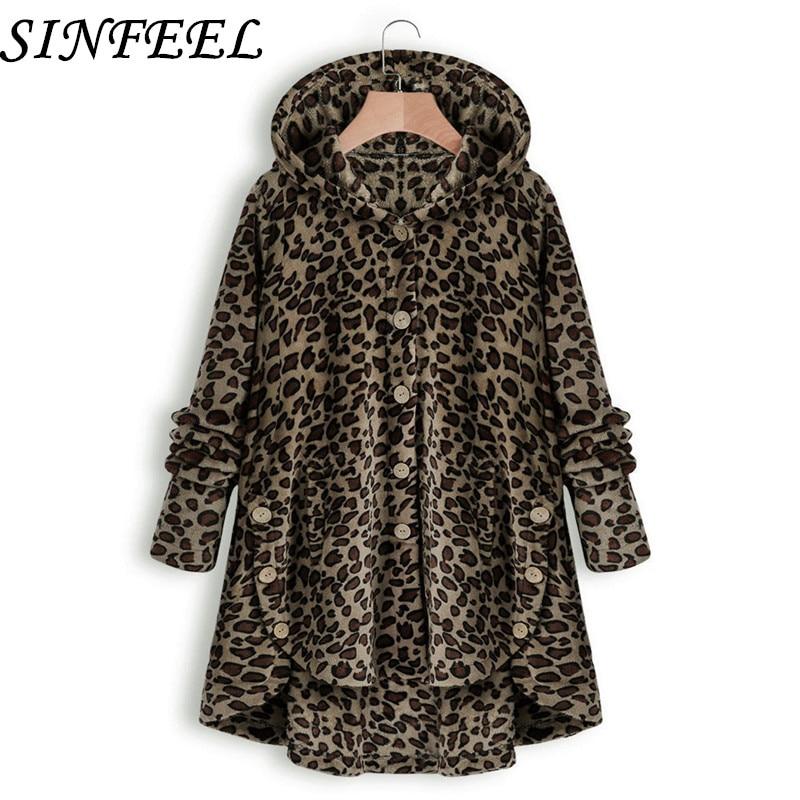 5XL Womens Coat Winter Warm Outwear Leopard Solid Hooded