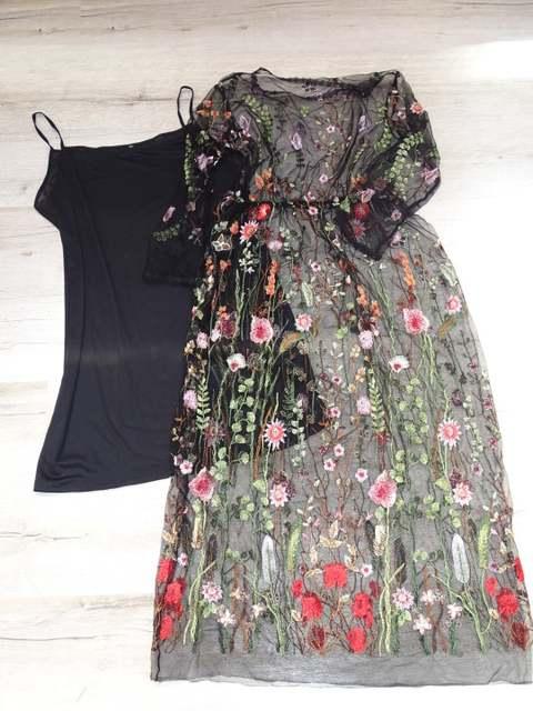 1c24e374b8c0e Lining+Dress Newest Fashion Mesh Flower Floral Embroidery Runway Maxi Women  Black Bohemia Beach Perspective Long Dress 4016