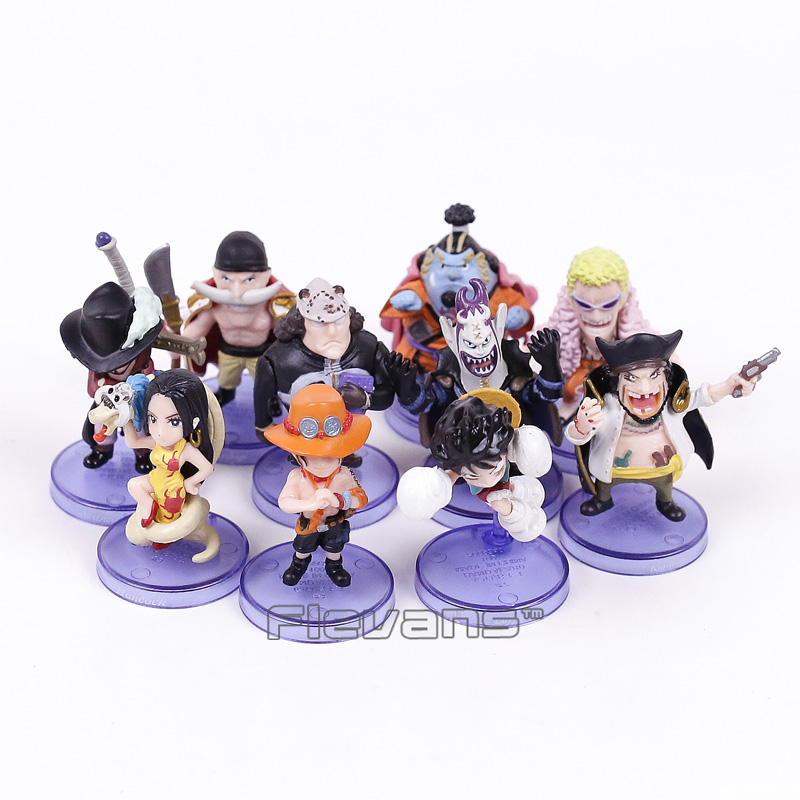 Anime One Piece Mini PVC Figures Toys 10pcs/set Luffy Ace Boa Hankokku Dracule Mihawk Doflamingo Kuma Teach Jinbe Moria Edward 12pcs set children kids toys gift mini figures toys little pet animal cat dog lps action figures