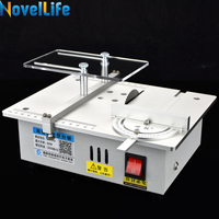 Mini Hobby Table Saw Handmade Woodworking Bench Saw DIY Model Crafts Cutting Tool with Power Supply HSS 63mm Circular Saw Blade