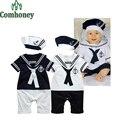 Сладкий Матрос Мальчиков Младенца Одежда Лето Baby Rompers в Шляпе 100% Хлопок Младенческой Малыша Комплект Одежды Мальчиков Спортивный Костюм набор