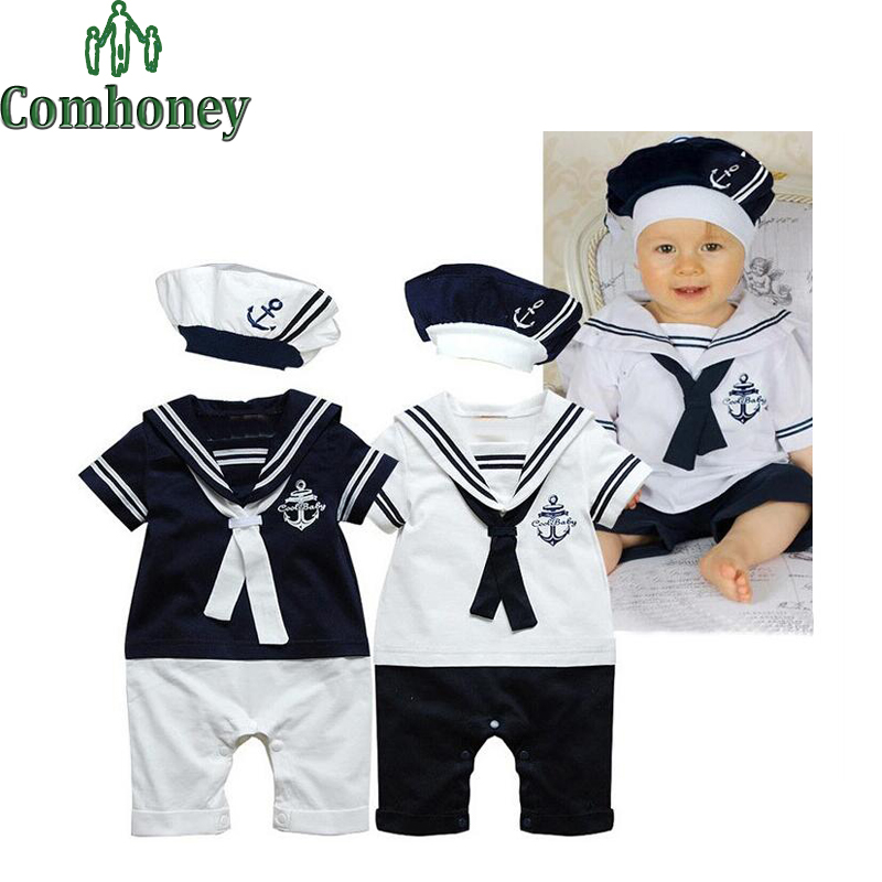 Sweet Sailor Baby Boys Clothes Summer Baby Rompers With Hat 100% Cotton Infant Toddler Clothing Set Baby Boys Sport Suit Set baby rompers love mama papa boys girls babies clothes newbron cotton clothing with hat one pieces body suit