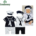 Sweet Sailor Baby Boys Clothes Summer Baby Rompers With Hat 100% Cotton Infant Toddler Clothing Set Baby Boys Sport Suit Set