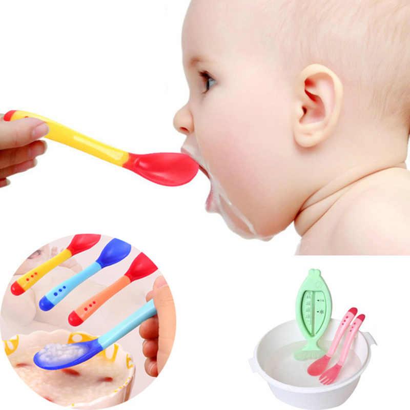 1 เซ็ตเด็กอุณหภูมิ Sensing ช้อนส้อมและช้อนส้อม, ความปลอดภัยซิลิโคน Flatware เด็กอุปกรณ์ให้อาหารช้อน
