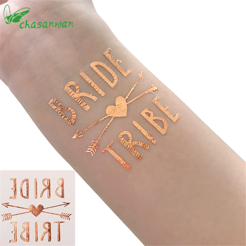 15Pc Bride Team Rose Gold Stickers Temporary Tattoo Sticker Decoration Mariage Bride To Be Bridal Party Supplies Wedding Decor,T