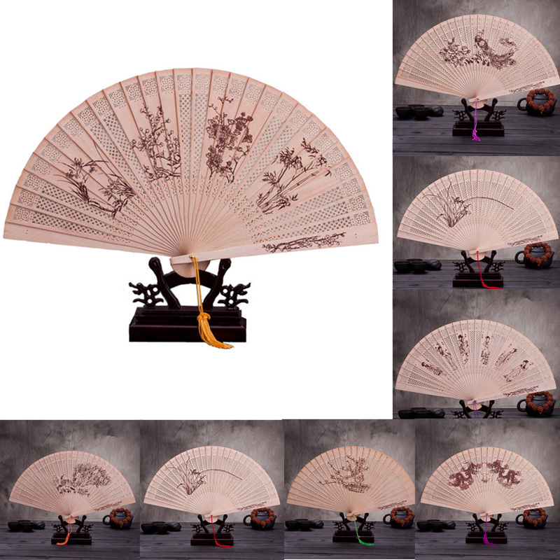 Chinese Japanese Folding Fan Original Wooden Hand Flower Bamboo Classical PrintedFan Ladies Dance Performance And Home Decor