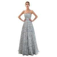 SHAMAI Women Strapless Evening Dresses Formal Luxury Design Gray Party Dress 2019 Sexy Floor Length Sequins Evening Gown 71703