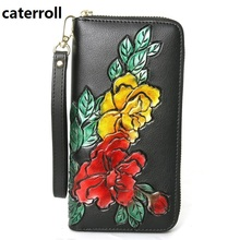wallet women long genuine leather purse luxury brand floral ladies wallets and purses large capacity female money bag