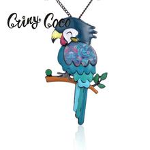 Cring Coco New Design Blue Bird Necklaces Alloy Metal Long Sweater Chain Necklace Women 2019 Animal Pendant Girls Gift for Lady
