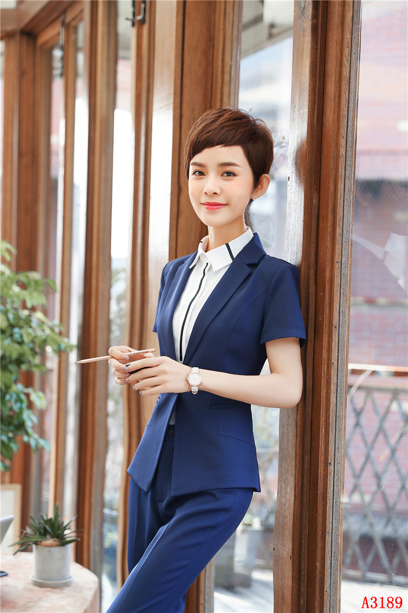 2 Piece With Tops And Pants Summer Short Sleeve Professional Pantsuits For Women Business Work Blazers Set Uniform Styles