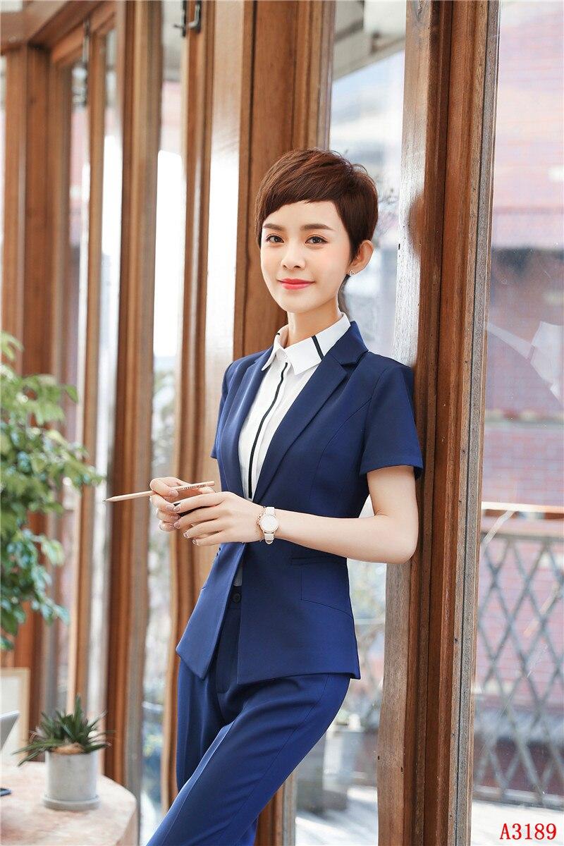 2 Stück Mit Tops Und Hosen Sommer Kurzarm Professionelle Hosenanzüge Für Frauen Business Arbeit Blazer Set Uniform Styles