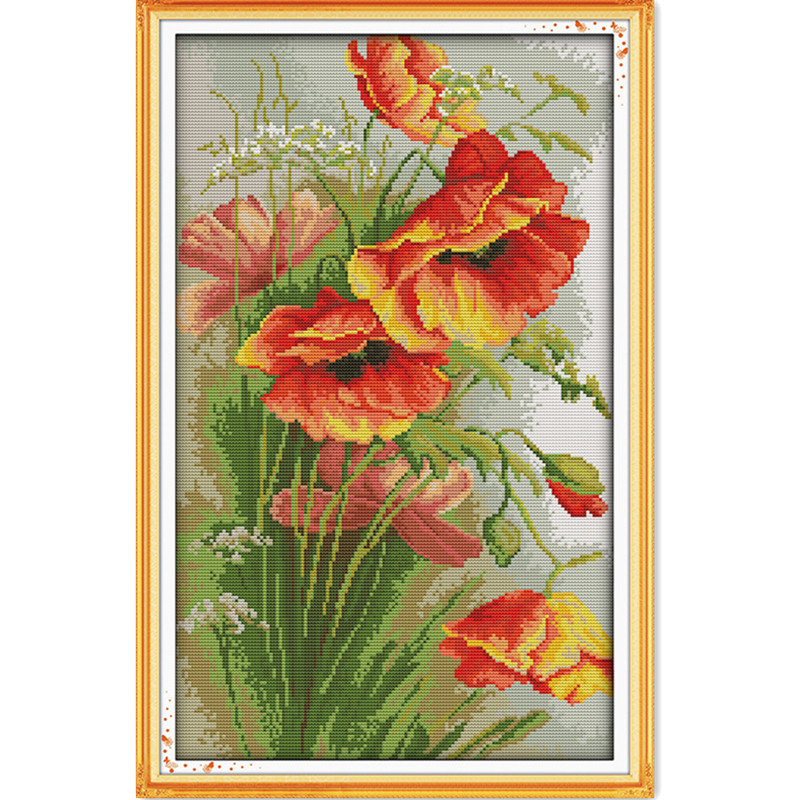 NEW Time-limited Hot Sale Broderie Point Compte Poppy (4) Needlework Patterns Cross Stitch Printed Counted Home Decor Canvas