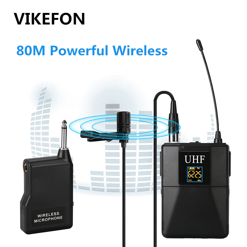 VIKEFON Professional UHF Wireless Microphone System Lavalier Lapel Mic Receiver + Transmitter for Camcorder Recorder Microphone free shipping 122 g2 professional uhf wireless microphone wireless system with bodypack transmitter lapel lavalier clip mic