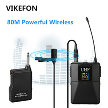 VIKEFON Professional UHF Wireless Microphone System Lavalier Lapel Mic Receiver + Transmitter for Camcorder Recorder Microphone