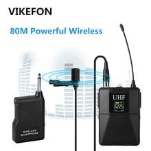 VIKEFON Professionale per Microfono Wireless UHF Sistema Lavalier Risvolto Mic Ricevitore + Trasmettitore per la Videocamera Portatile del Registratore Microfono