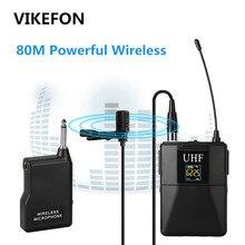 VIKEFON מקצועי UHF מיקרופון אלחוטי מערכת Lavalier דש מיקרופון מקלט + משדר עבור מצלמת וידאו מקליט מיקרופון