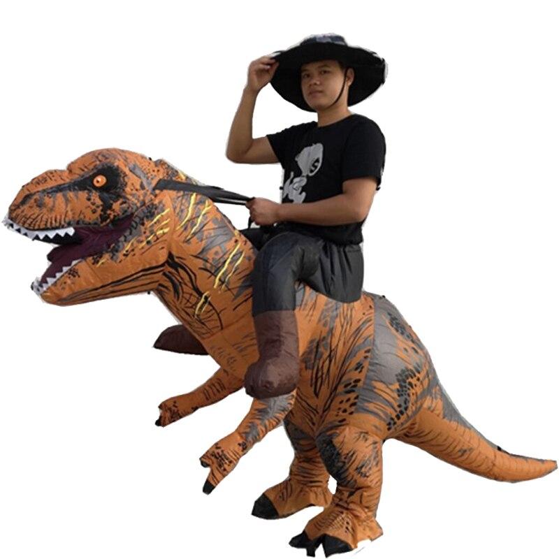 T-REX traje dinossauro Inflável para o dia de Carnaval Adulto Traje Fantasia Vestido traje de Halloween para a mulher dos homens