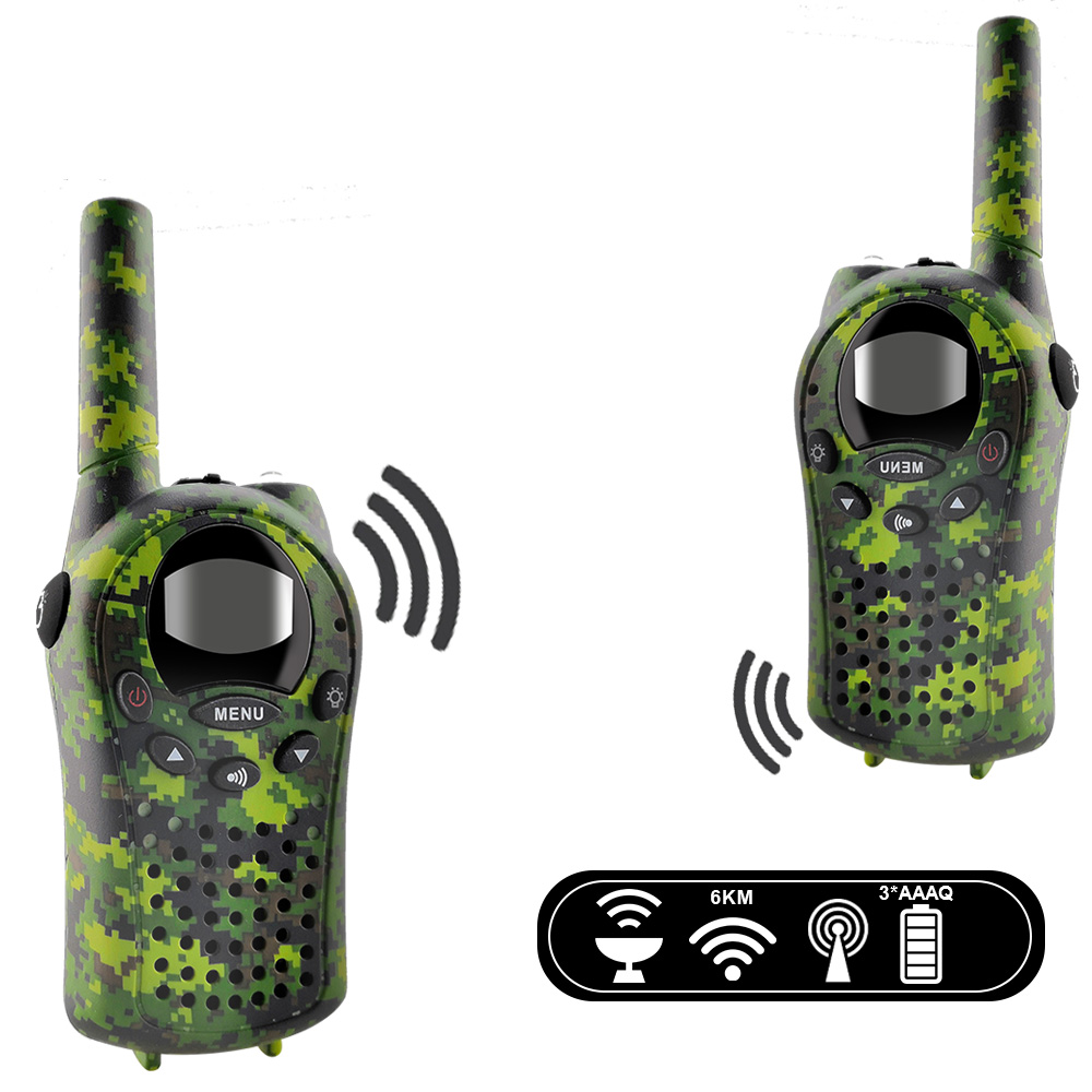 Image 5 - 2PCS/Set Kids Walkie Talkies Mini Two Way Radios Intercom Green Camo 22 Channel 446MHZ FRS Toys Interphone for Children-in Walkie Talkie from Cellphones & Telecommunications