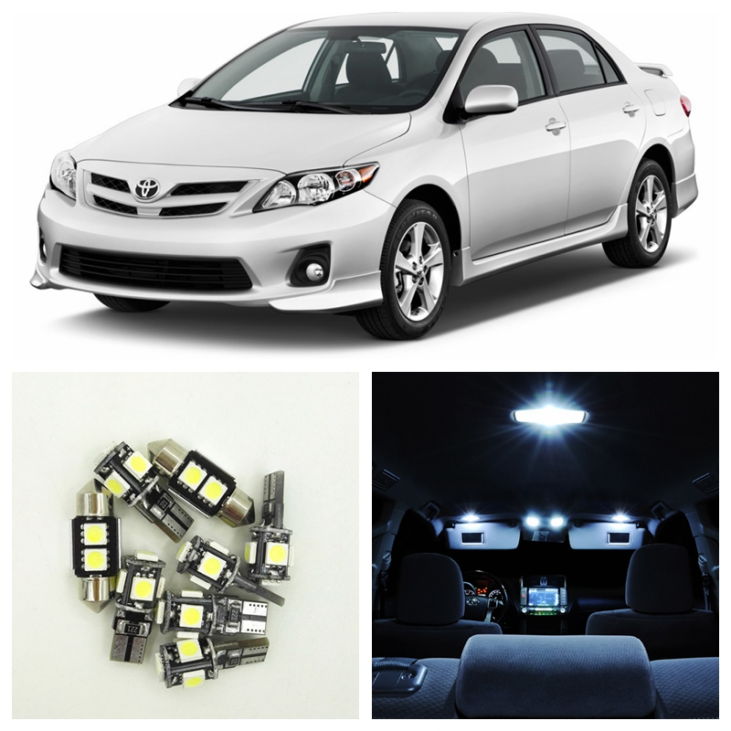 8Pcs Xenon White LED Lights Bulb Interior Package Kit For Toyota Corolla 2003-2011 Map Dome License Plate Light Toyota-B-06 24x lot rasha quad 7pcs 10w rgba rgbw 4in1 dmx512 led flat par light wireless led par can for disco stage party