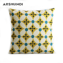 Simple sofa pillow case for home printed linen cushion cover seat car chair use cushion case decorative waist pillow cover цена в Москве и Питере