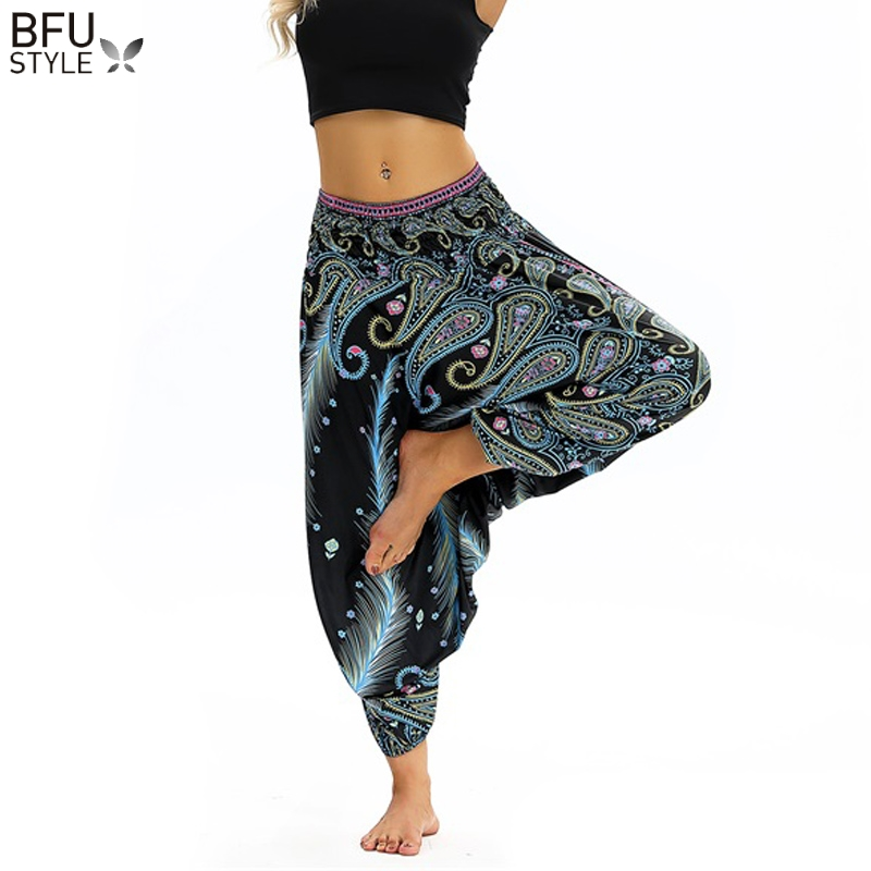 Women Soft Loose Thai Harem Pants Indie Folk Boho Festival Hippy Casual Trousers Loose Elastic Waist National Style Pants