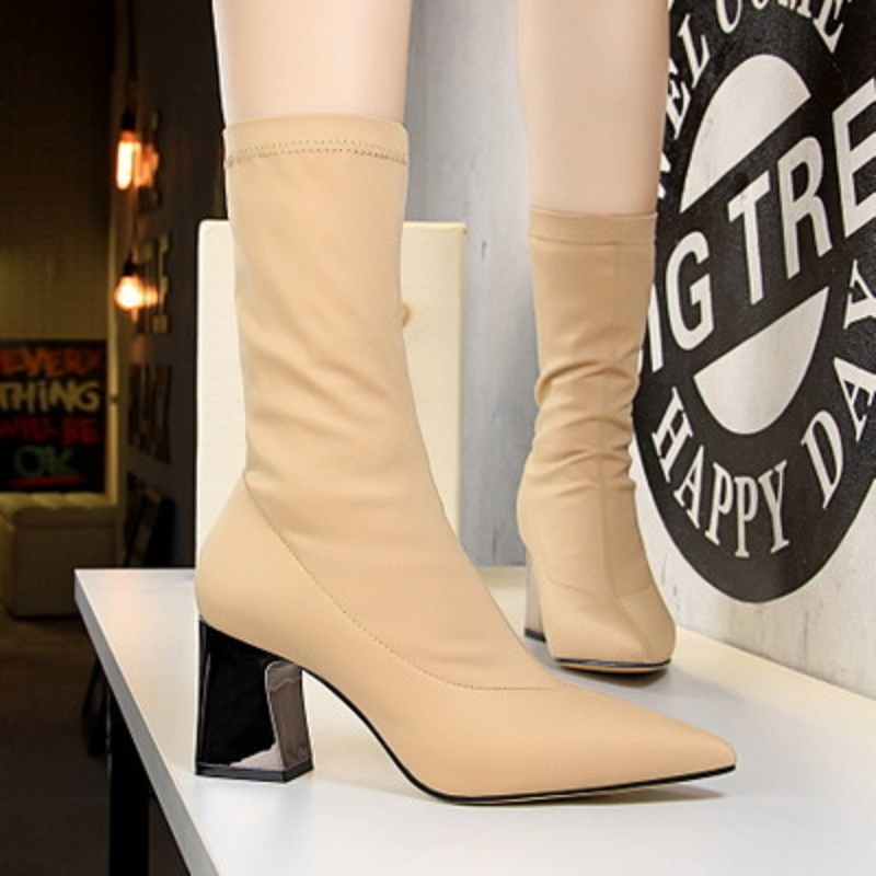 European and American style fashion simple metal thick with high heeled pointed sexy nightclub slim elastic Lycra ankle boots