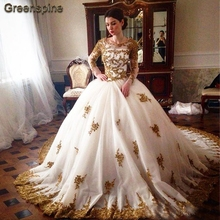 Greenspine White Wedding Dress Long Sleeve Gowns