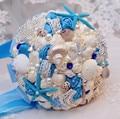 Marina del estilo romántico azul y blanco de la boda ramo de novia holding bouquets con cuentas broche de estrellas de mar y shell para boda de playa