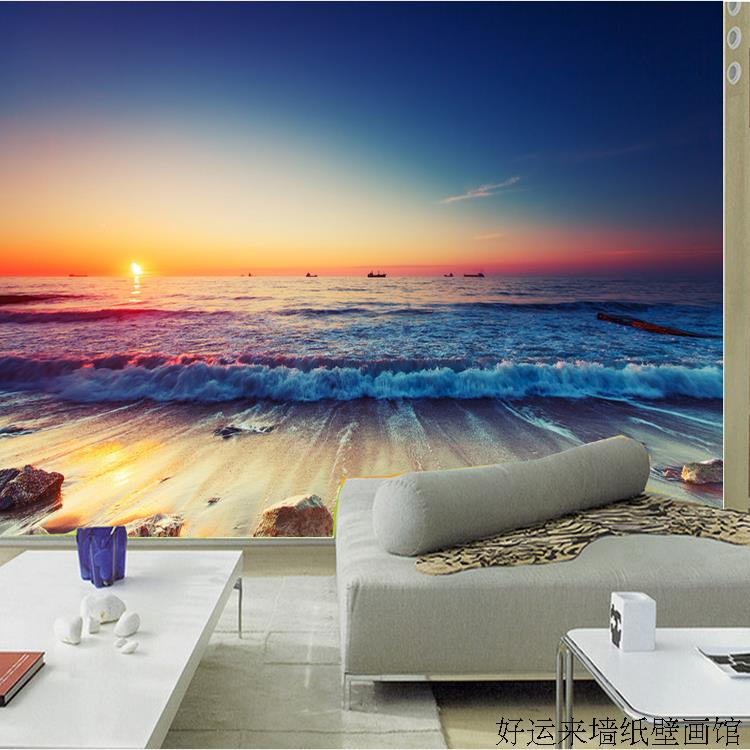 Online get cheap beach wallpaper murals for Beach mural for wall