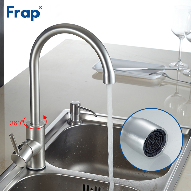 Frap Classic Kitchen Faucet Space Aluminum Brushed Tap Hot And Cold Water Mixer Faucets 360 Degree Rotation Crane F4052