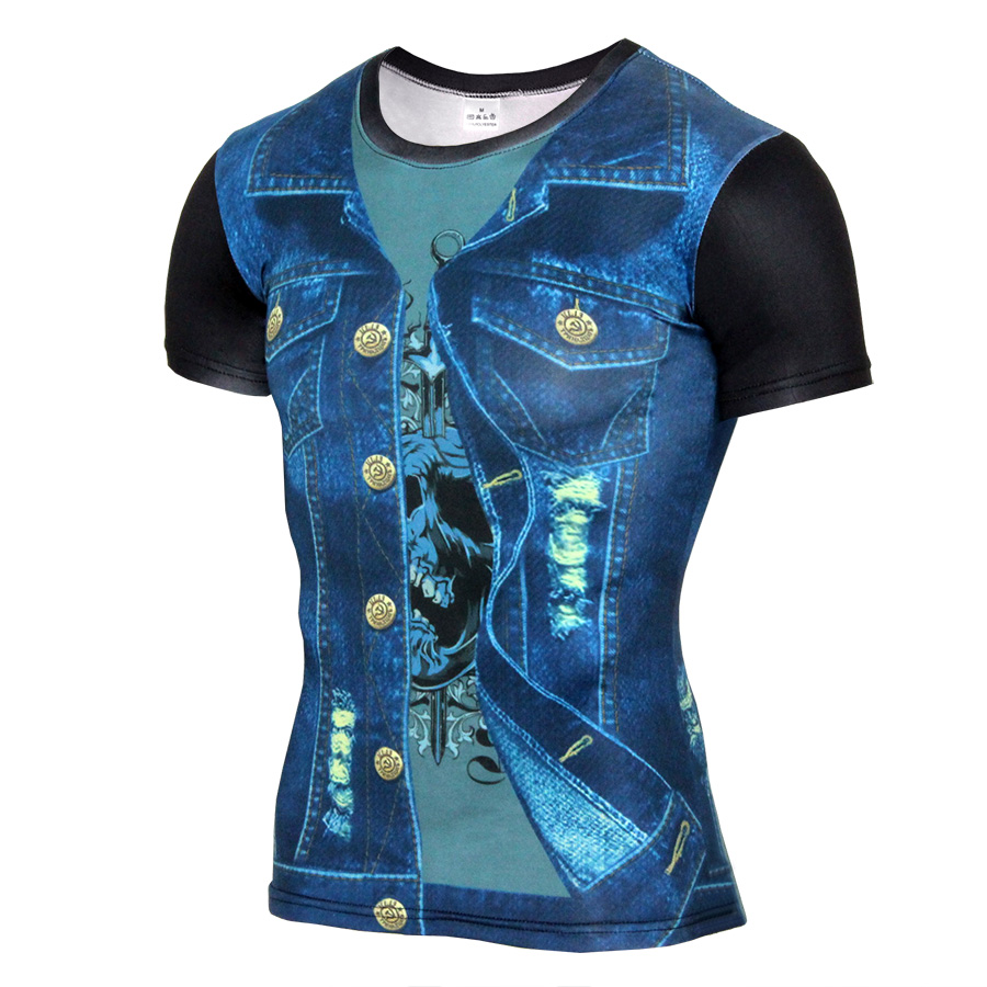 3D Printed Jean style Short Sleeve Casual T Shirt Mens Compression Shirt