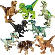 Jurassic Dinosaur world building blocks Tyrannosaurs Rex model Figures Bricks Toys For Children Compatible цены