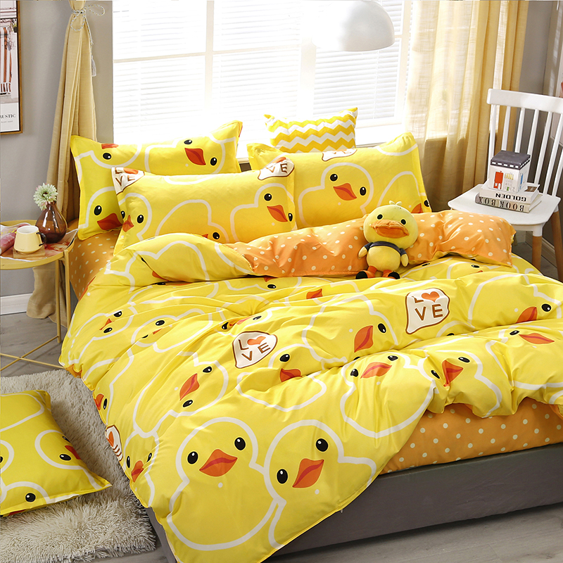 Bed Linings Pillowcases-Cover-Set Bedding-Set Duvet-Cover Bed-Sheet Yellow 3/4pcs/set