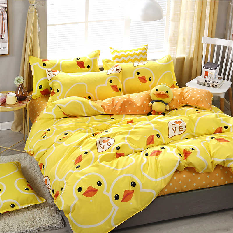 High Quality Yellow Duck Cartoon Style Bedding Set Bed Linings Duvet Cover Bed Sheet Pillowcases Cover Set 3/4pcs/set
