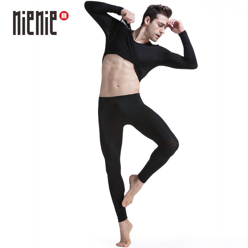 New male underwear set elastic thin silky translucent viscose o-neck long johns long johns set(China)