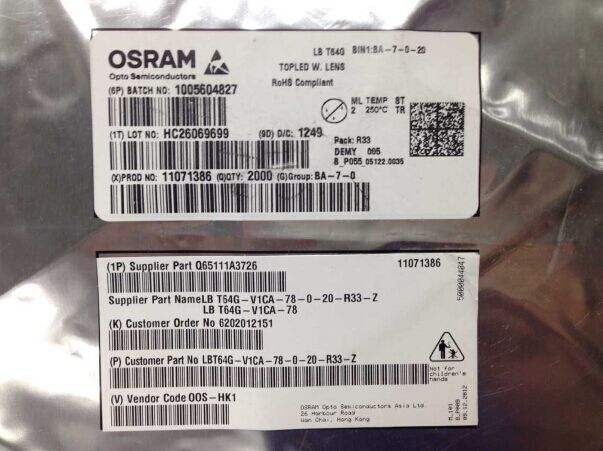 LBT64G-V1CA-78-0-20-R33-Z OSRAM TOP Optoelectronic blue display module ...