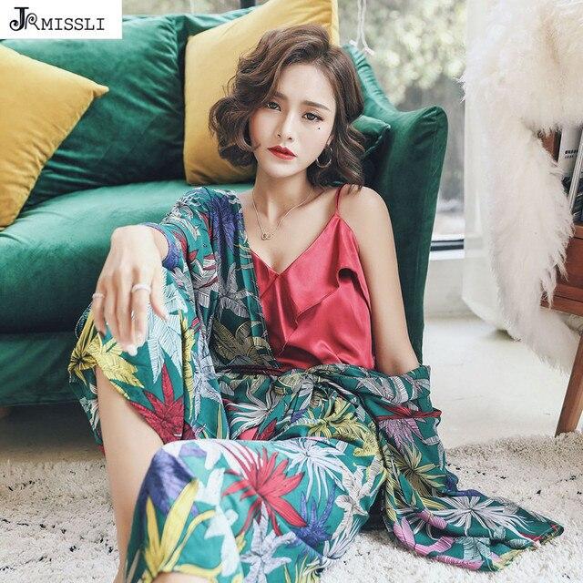 JRMISSLI High Quality Women Pyjamas Girls Cute Flower Print Cotton Pajama Sets 3 Piece Womens Sleepwear Pijama entero mujer