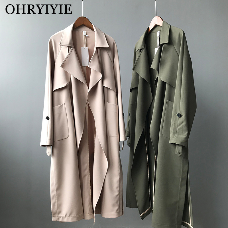 OHRYIYIE Beige/Green   Trench   Coat Women 2019 New Spring Autumn Long Slim Outwear Female Fashion   Trench   Coat for Women With Belt