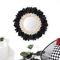 Macrame Handwoven Tapeçaria Tapeçaria Pena Decoração Da Sala de Parede Decorativo Pendurado Espelho Espelho Decorativo Design Original Espelhos decorativos    -