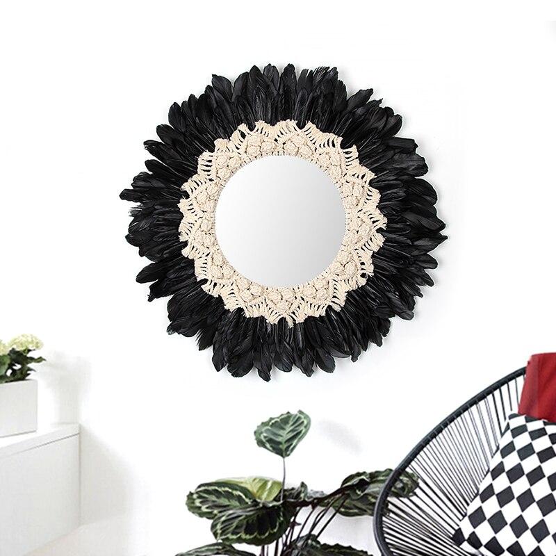 Macrame Tenture Tissés À La Main Tapisserie Plume Miroir Décoratif Conception Originale Mur Décoratif Suspendu Chambre Décor Miroir
