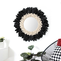 Macrame Wall Hanging Handwoven Tapestry Feather Decorative Mirror Original Design Decorative Wall Hanging Room Decor Mirror